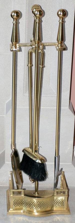 091404 BRASS SET OF FOUR FIRE TOOLS ON STAND MODERN