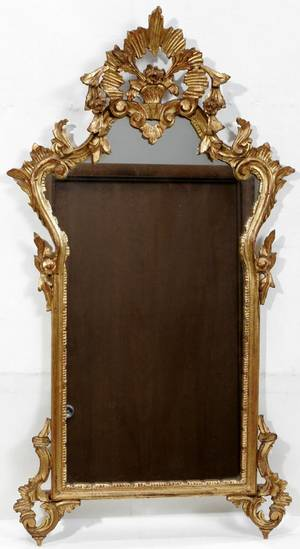 050373 FRENCH STYLE GILT WOOD  GESSO MIRROR H40