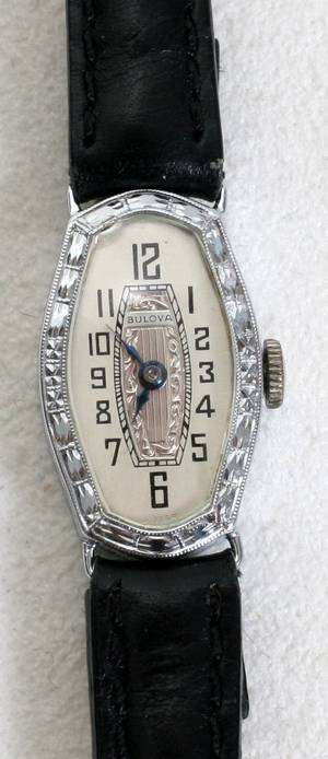 090414 BULOVA 14K WHITE GOLD LADIES WATCH 1930