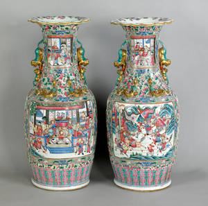 Pair of Chinese export famille rose palace vases 19th c