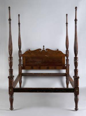 Federal mahogany tall post bed 19th c