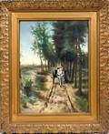 062339 ANTON MAUVE WATERCOLOR LANDSCAPE W CART