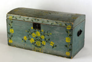 New England painted basswood dome lid box early 19th c