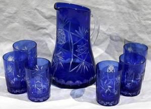 052380 CZECH COBALT GLASS WATER PITCHER  TUMBLERS