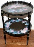 062415 FLORAL HAND PAINTED TWO TIER METAL TABLE
