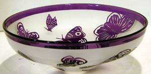 063702 CORREIA ART GLASS LIMITED ED BUTTERFLY BOWL