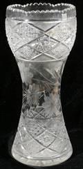 052420 BRILLIANT PERIOD CUT GLASS VASE C1900 H14