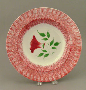 Red spatter shallow bowl 19th c