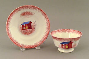 Red spatter cup and saucer 19th c