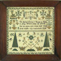 English silk on linen sampler dated 1862 wrought by Emma Simmonds