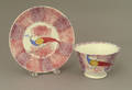 Red and purple spatter cup and saucer 19th c