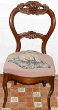 071538 VICTORIAN WALNUT SIDE CHAIR WNEEDLEPOINT