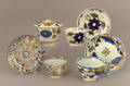 Two Leeds cups and saucers 19th c