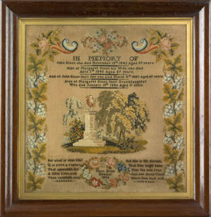 Wool on linen memorial needlework dated 1856 and wrought by Mary Dixon Kendal