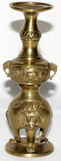 061530 CHINESE BRONZE FIGURAL VASE H63