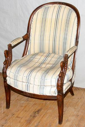 061512 CARVED MAHOGANY ARMCHAIR EARLY 20TH C