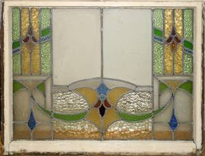 091560 LEADED  STAINED GLASS WINDOW C1900 35x28