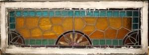091559 LEADED  STAINED GLASS WINDOW C1900 13x44