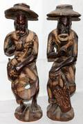 082452 AFRICAN CARVED WOOD FIGURES OF MUSICIANS