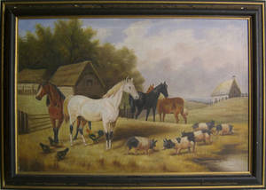 Contemporary oil on canvas farm scene