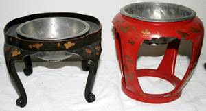 081587 JAPANESE LACQUER STANDS TWO H6  8