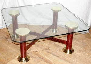 060558 COLUMNAR BRASS IRON  GLASS COFFEE TABLE