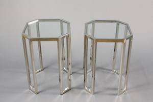 Pair of Mid Century Modern Chrome  Glass Tables