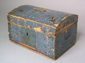 Painted pine dome lid lock box dated 1809 and initialed ALS