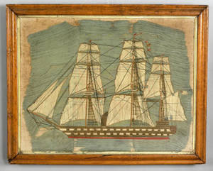 English woolwork ship portrait late 19th c