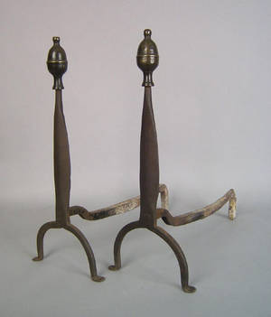 Pair of wrought iron and brass lemon top andirons ca 1790