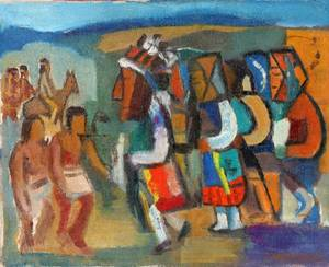 082060 ISRAEL ABRAMOFSKY OIL ON CANVAS INDIANS
