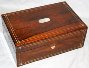 081047 ENGLISH ROSEWOOD JEWEL BOX C1850 H48 W12