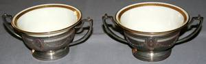 080017 LENOX  WHITING STERLING  CHINA SOUP HOLDERS
