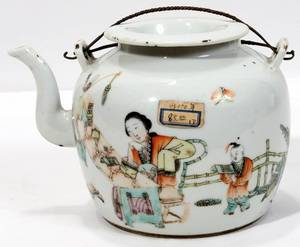071039 CHINESE PORCELAIN TEAPOT WDOUBLE WIRE HANDLE