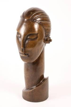 Art Deco Style Bronze Figural Sculptural Bust