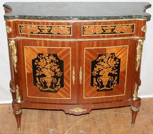 062027 LOUIS XV STYLE MARBLE TOP COMMODE 19TH C