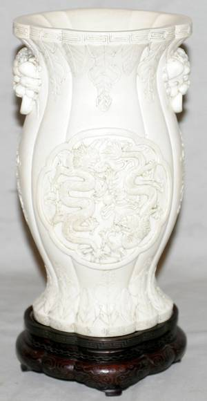 061056 CHINESE CARVED IVORY VASE W DRAGON RESERVES