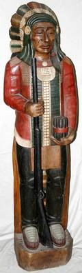 060045 CARVED WOOD CIGAR STORE INDIAN H685