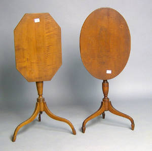 Two Federal style tiger maple candlestands