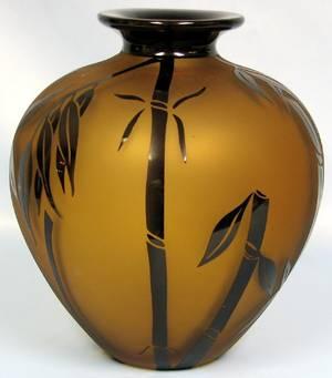 063434 CORREIA ART GLASS BAMBOO VASE 2005 H12