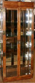 063047 CONTEMPORARY OAK  GLASS DISPLAY CABINET