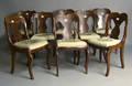Set of 6 saber leg mahogany dining chairs