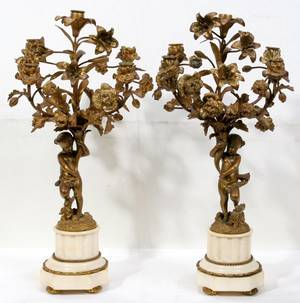 052034 FRENCH GILT BRONZE  MARBLE CANDELABRA