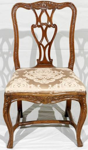 052028 FRENCH CARVED WALNUT SIDE CHAIR 18TH C