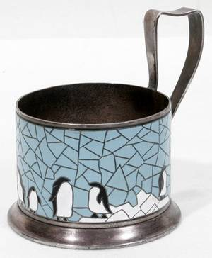 050060 SCANDINAVIAN ENAMEL  SILVER TEA CUP HOLDER