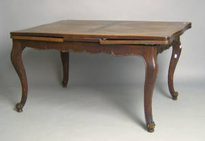 French Provincial oak extension dining table