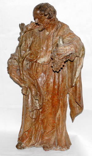 111201 ANTIQUE CARVED WOOD FIGURE OF A SAINT