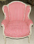 111065 LOUIS XV STYLE ANTIQUED WHITE WING STYLE CHAIR