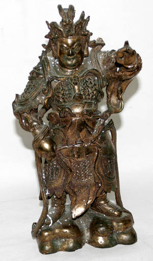 111188 CHINESE GILT BRONZE FIGURE OF A TOMBGUARDIAN