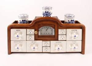 Art Deco Delft Spice Rack w Clock  Jars